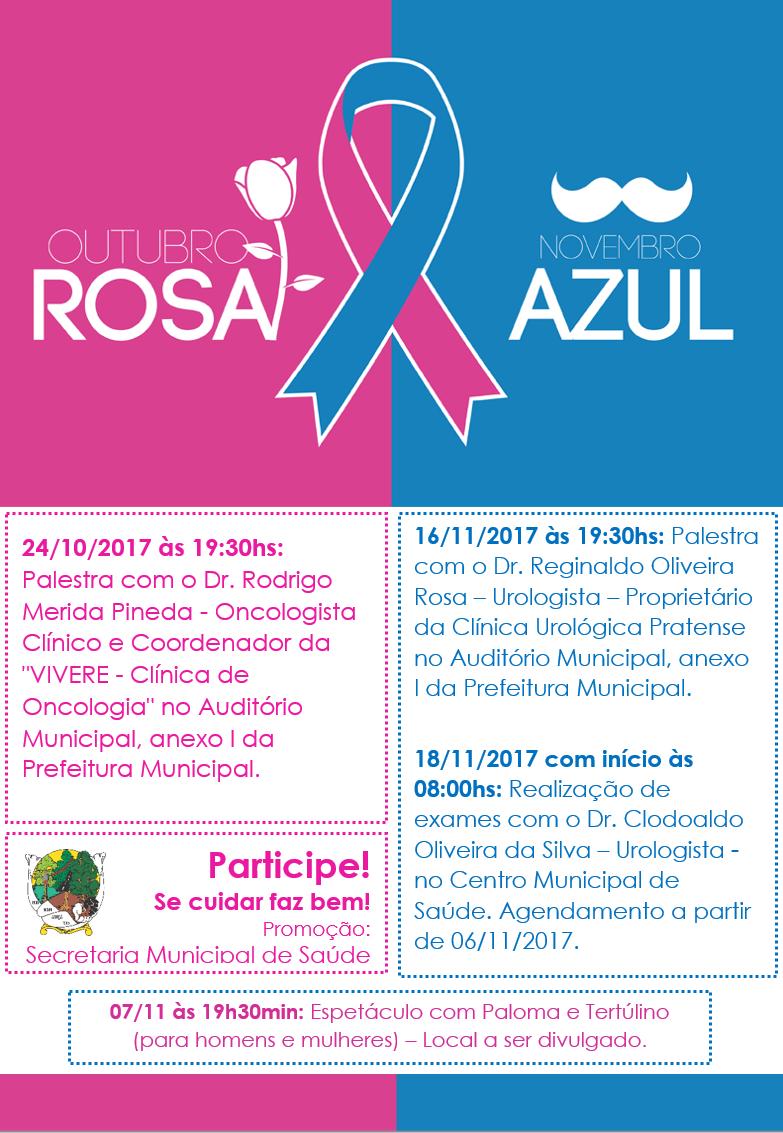 Município de Nova Araçá Confira a programaç u00e3o OUTUBRO ROSA e NOVEMBRO AZUL -> Decoração De Outubro Rosa E Novembro Azul